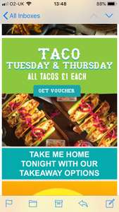 All Tacos £1 each at Chiquitos today - with voucher