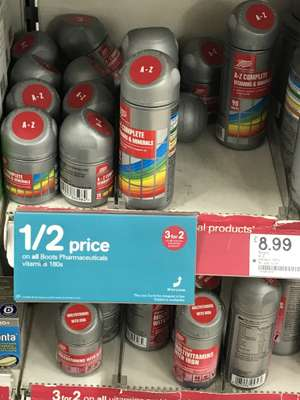 Half price + 3 for 2 on Vitamins (180) - £8.99 instore @ Boots