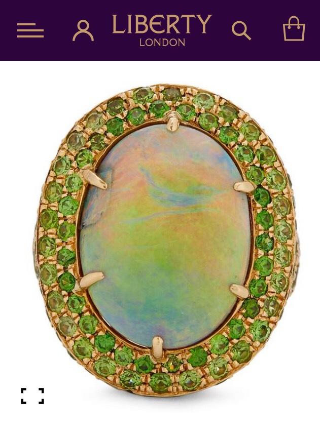 Gold Black Opal and Demantoid Garnet Cluster Ring £40000 @ Liberty London £10,000 saving! Bargain! Get it soon