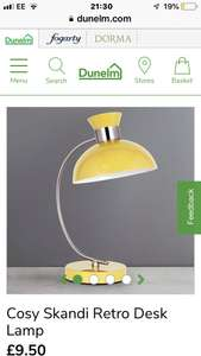 Cosy Skandi Retro Desk Lamp - £9.50 @ Dunelm (free C&C)