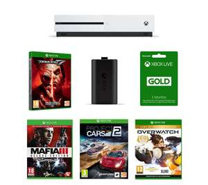 Xbox One S 1TB + Tekken 7 + Mafia 3 + Overwatch + Project Cars 2 + 3 month Xbox Live Gold + Play and Charge kit - £249.99 @ Curry's PC World