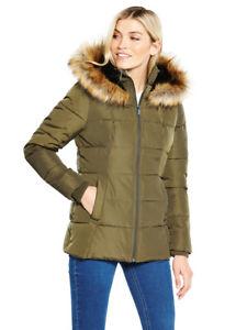 Short Faux Fur Trim Parka In Khaki Size 8 £21.94 Delivered @ Very e-bay