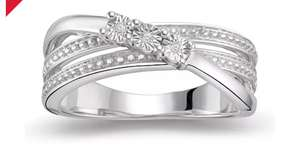 Silver Three Stone Diamond Ring @ H Samuel Was £139, Now £39