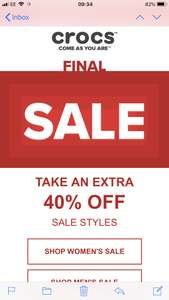 Crocs 40% off Further on Sale Items & Free Delivery
