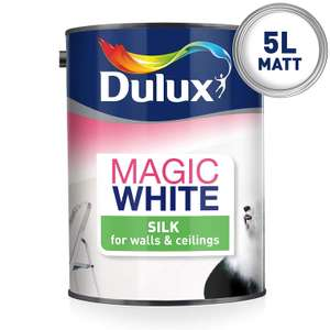Dulux Magic White Silk Emulsion Paint For Walls And Ceilings - Pure Brilliant White 5L £16 - Amazon Prime Exclusive Deal