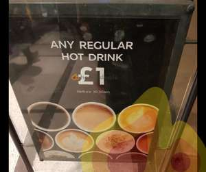Any Regular Hot Drink £1, Everyday before 10:30am @ M&S cafes