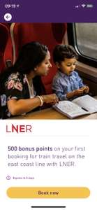 500 bonus Nectar points on your first booking for train travel on the east coast line with LNER for 56p spend.