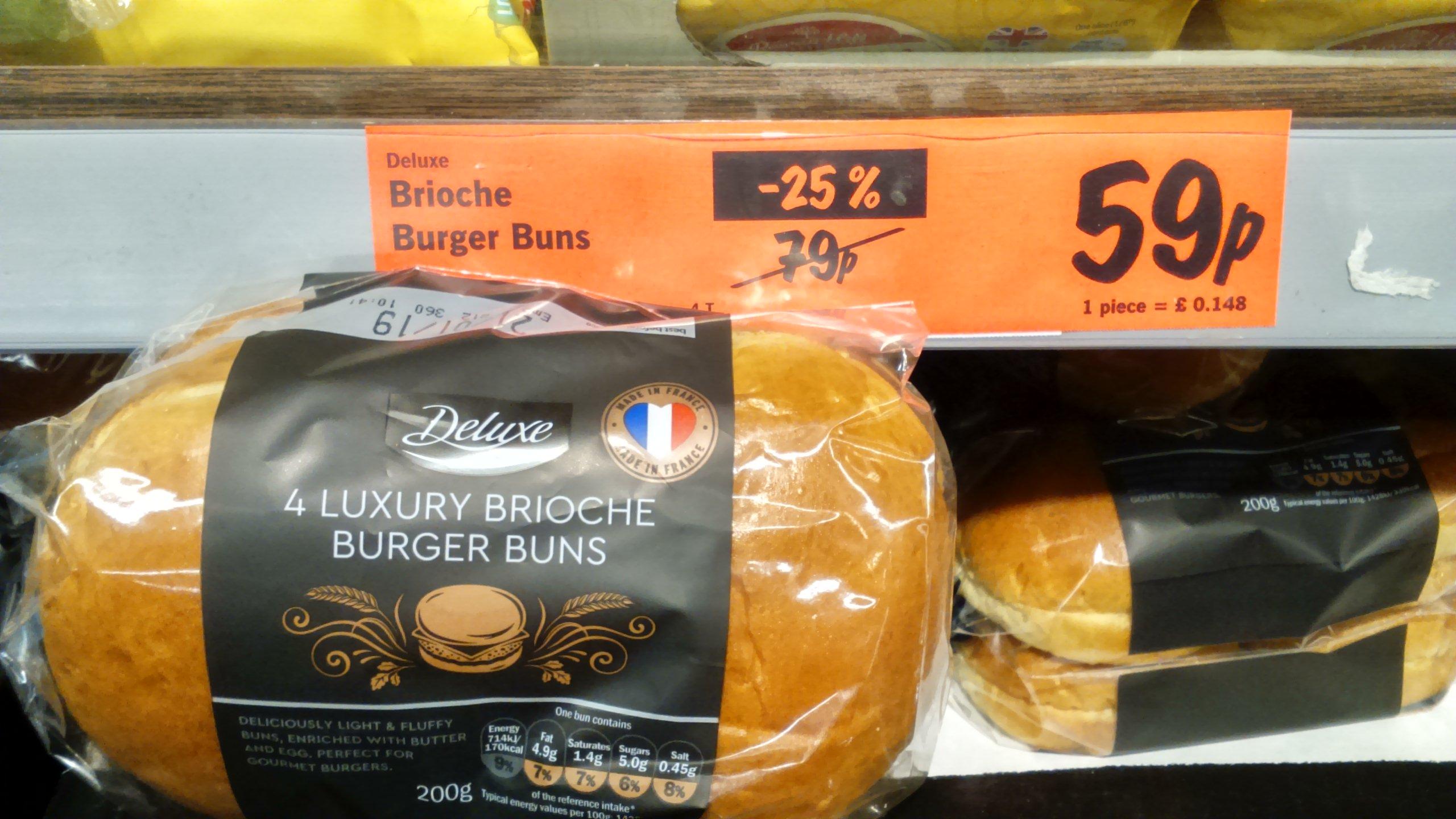 Lidl Deluxe Luxury Brioche Burger Buns 4 pack 59p @ LIDL