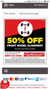 Half price front wheel alignment £14.50 with code, National Tyres