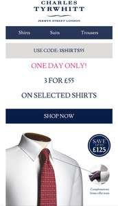 3 FOR £55 ON SELECTED SHIRTS at Charles Tyrwhitt
