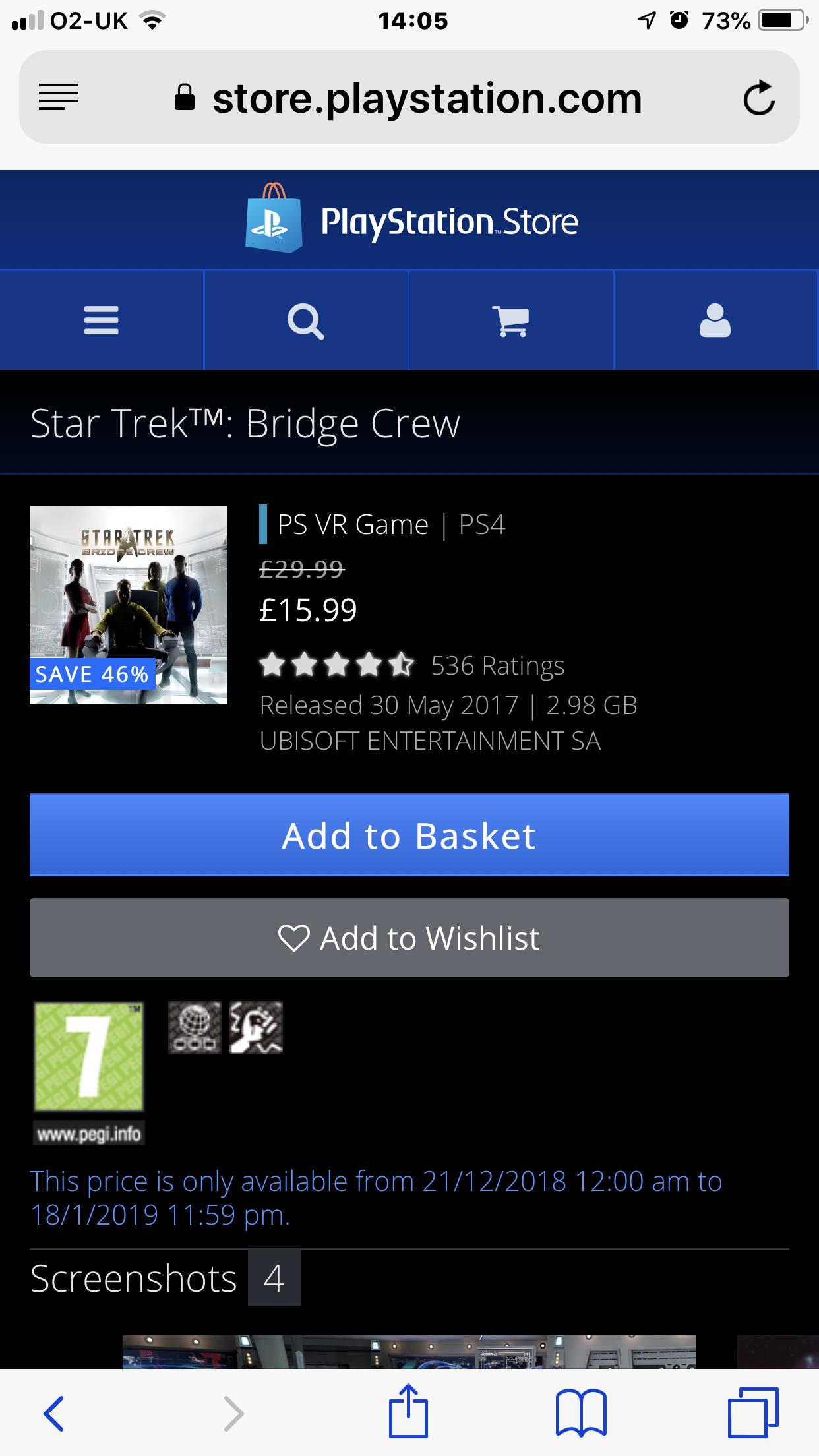 PS4 Store - Star Trek Bridge Crew £15.99 @ PSN