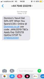 Dominos Yoevil 50% off with £35+ spend