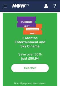Under half price Now TV Sky Cinema & Sky Entertainment  6 months pack. One off payment. No contract £50.94 @ Now TV