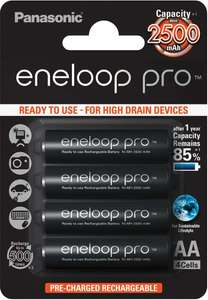 Panasonic Eneloop Pro AA HR06 NiMH 2500mAh Rechargeable Batteries Ready to Use - 4 Pack £11.99 @ 7 Day shop