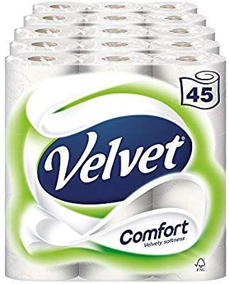 Velvet Comfort Toilet Roll Tissue Paper 45 Rolls (Pack of 5 X 9) £15 + £4.49 delivery (Non Prime) @ Amazon