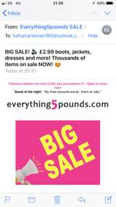 £2.99 **BIG SALE** @ Everything Five Pounds