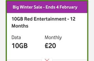 Vodafone SIM Red entertainment. 10GB data/unlimited calls & all 9 Sky Sports channels. This includes Sky F1 & Sky Football.