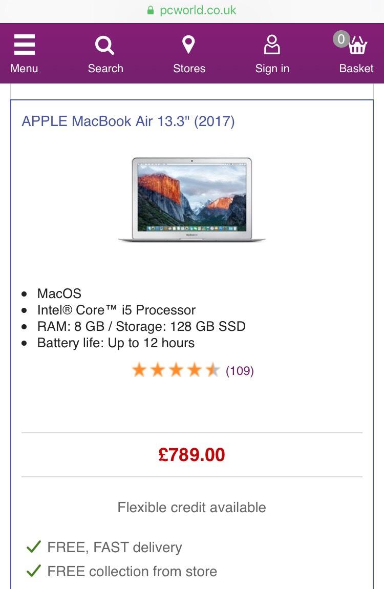 MacBook Air 128GB (2017) - £789 @ PC World