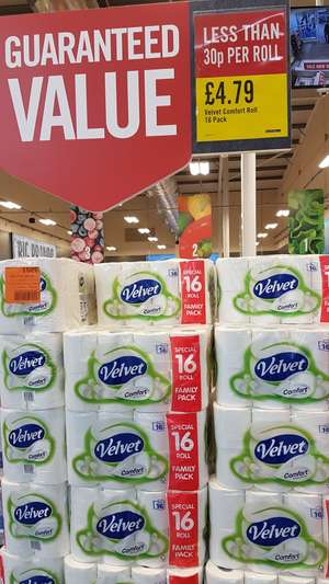 Velvet Comfort 16 toilet rolls £4.79 @ Iceland Food Warehouse