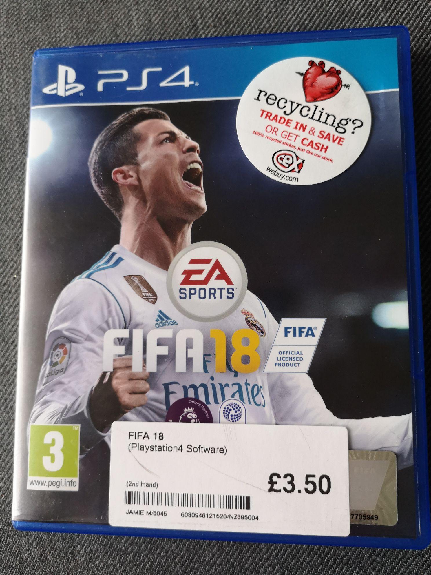 FIFA 18 PS4 £3.50 @ CEX Newtownabbey