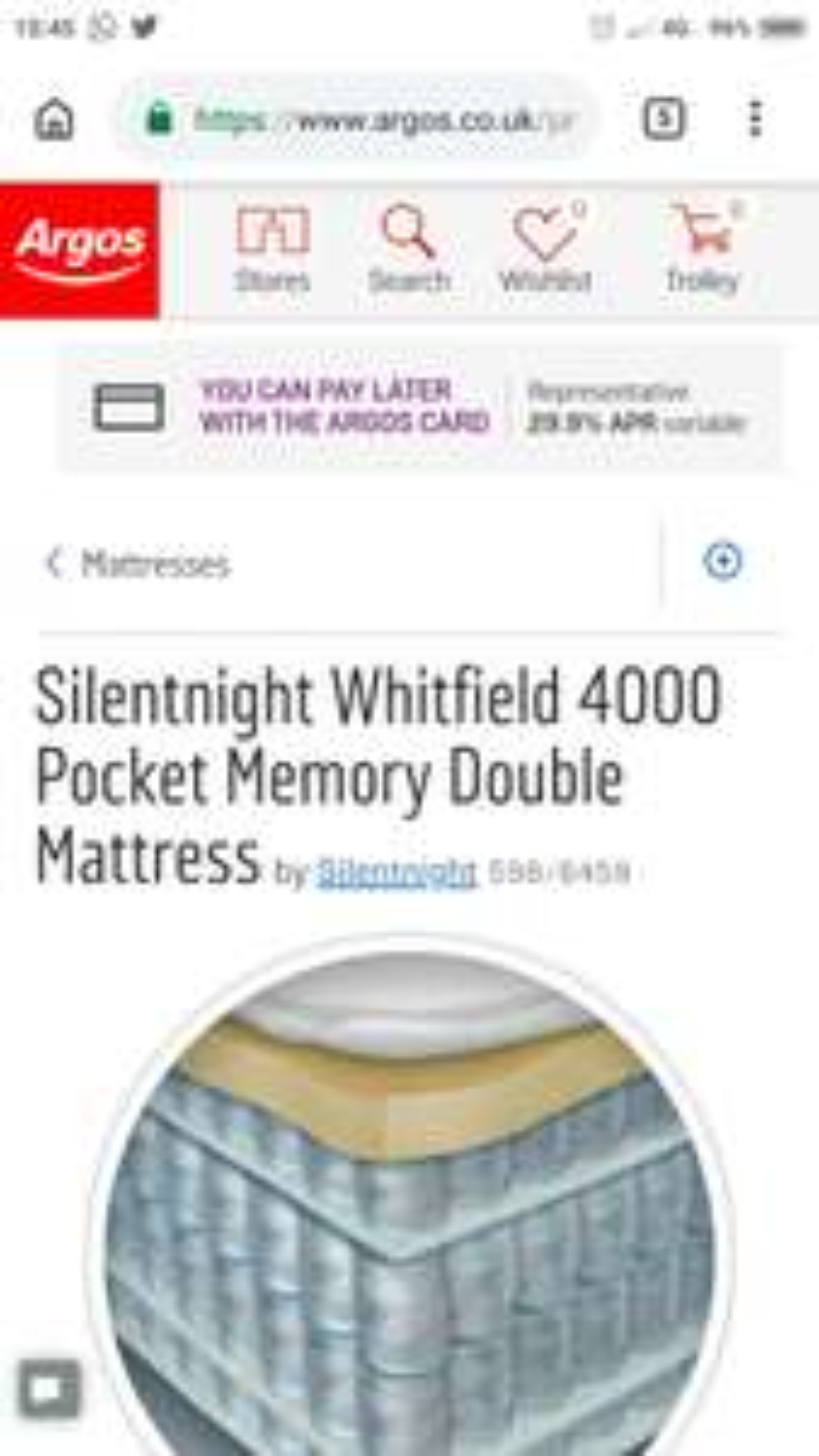Silentnight Whitfield 4000 pocket memory mattress double £431 @ Argos
