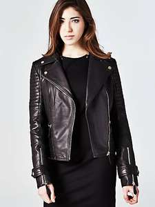 BIKER MODEL LEATHER JACKET from £239 to £59 - 75% off a deal to me @ Guess