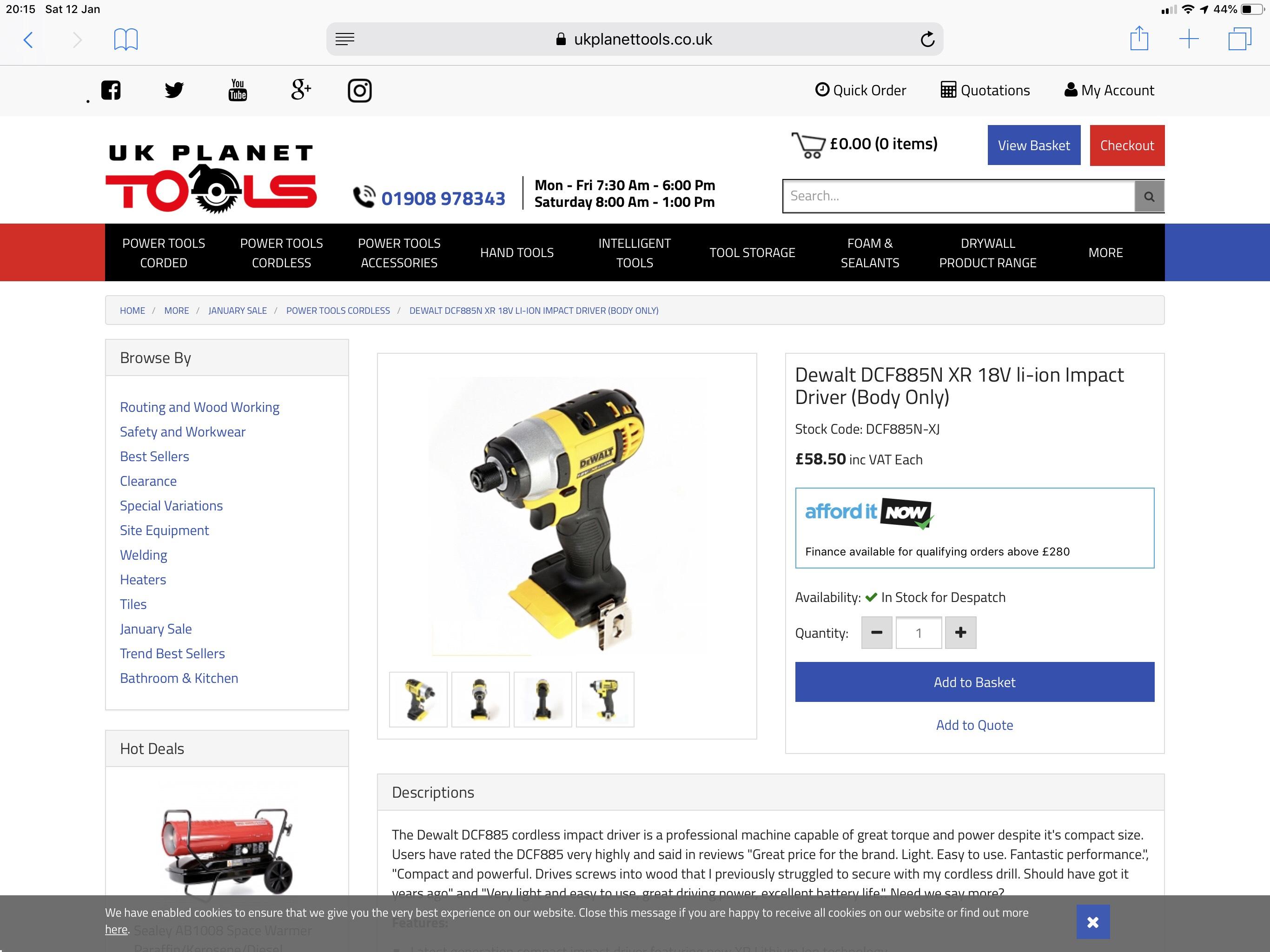 Dewalt DCF885N XR 18V li-ion Impact Driver (Body Only) - £58.50 @ UK Planet Tools