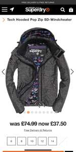 Woman's superdry coat £37.50 at Superdry with free delivery