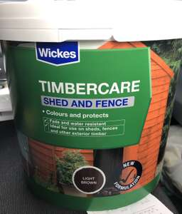 Wickes Timbercare Shed & Fence paint/stain 5litres for £2. Possibly store specific (Crawley)