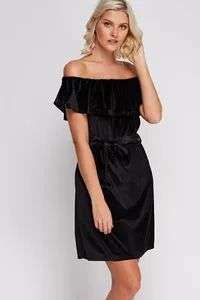 Off-Shoulder Velveteen Dress - 5 Colours Available - £2.99 @ Everything5pounds (+£3.95 P&P)