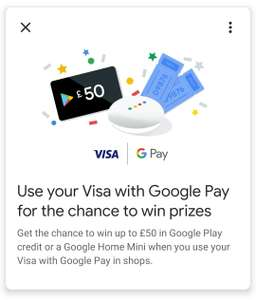 Google Pay Visa Prizes when you use your Visa card