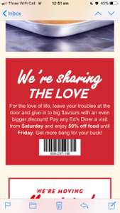 50% off at Ed's easy diner