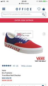 VANs men's Era Trainers True Blue Red Checker now £16 with code @ Office Free c&c