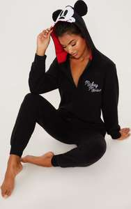 Black Disney Mickey Mouse Onesie £16 (Was £30) with Free Next Day Delivery at PrettyLittleThing
