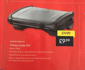 George Foreman 5 portion grill £9.99 at lidl