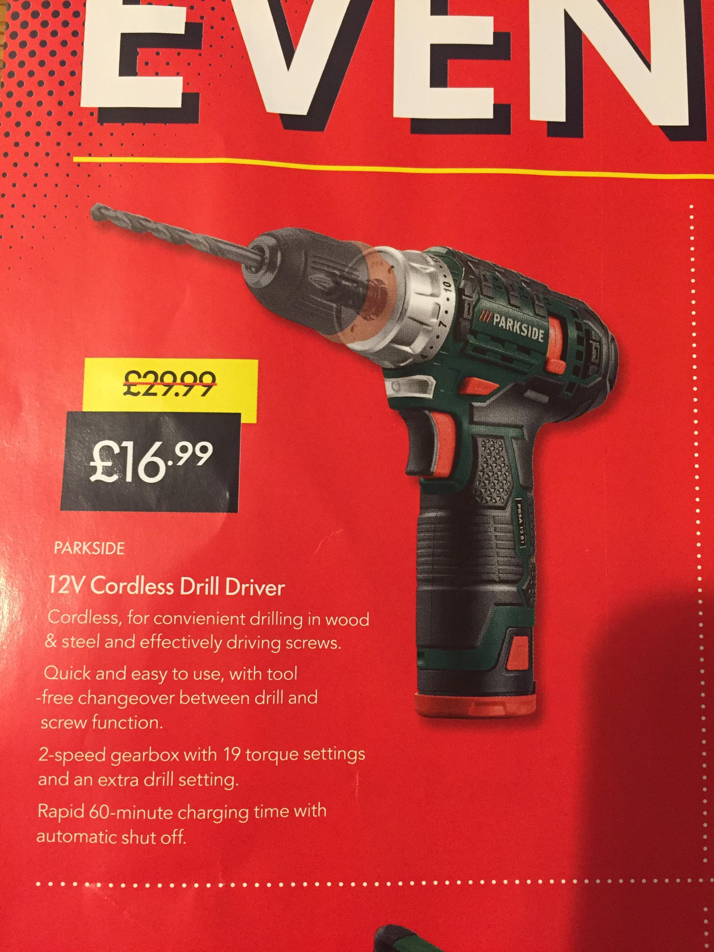 Parkside 12V Cordless Drill At Lidl £16.99