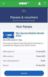 Now TV existing Mobile Sports Offer 3 months for £2.99 per month (Retention offer)