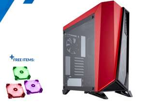 Corsair SPEC-OMEGA MIDI TOWER GAMING CASE - RED TEMPERED GLASS (free Corsair 3 FAN PACK  worth £74.99), £86.69 at Overclockers