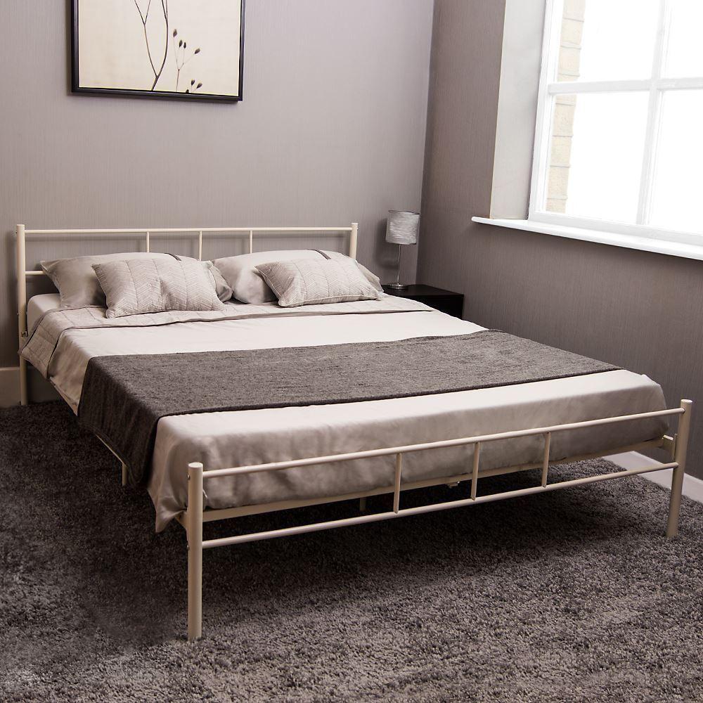 Dorset King Size Bed Metal Steel Frame 5FT Bedroom Furniture Modern White New £49 @ homediscountltd Ebay