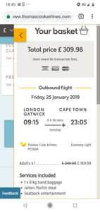 From London: Direct Flights to Cape Town £309.98 @ Thomas Cook Airlines