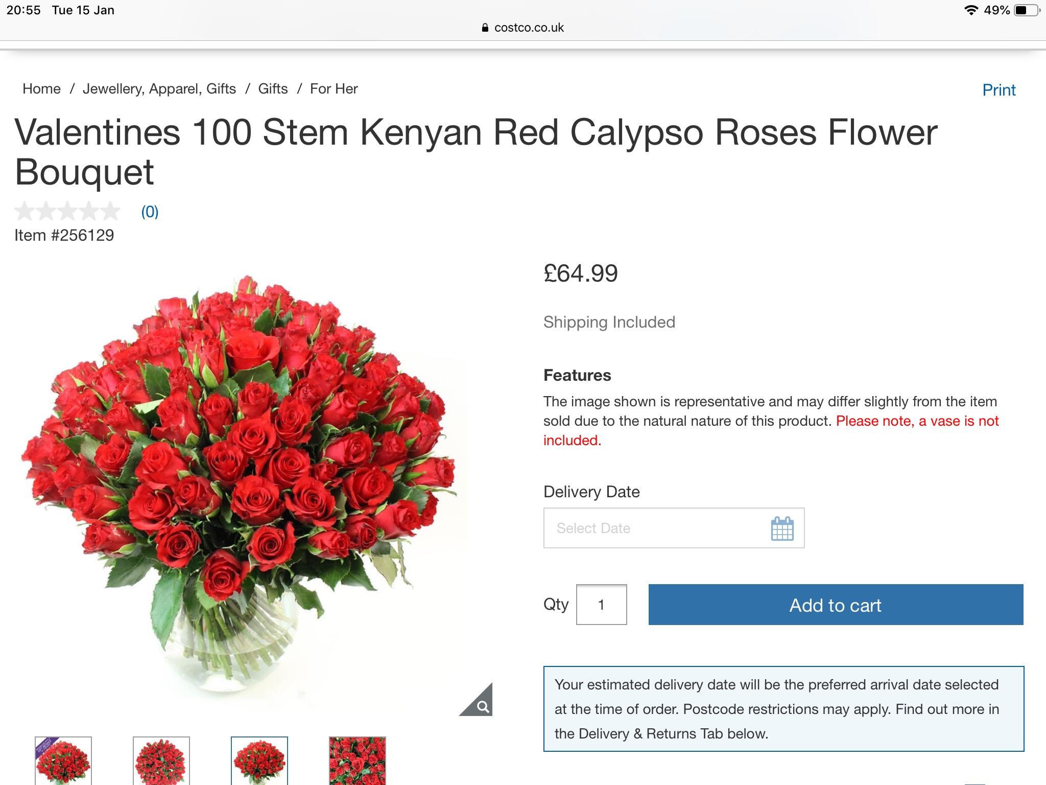 Valentines 100 Stem Kenyan Red Calypso Roses Flower Bouquet £64.99 @ Costco