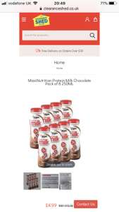 MaxiNutrition Protein Milk Chocolate Pack of 8 250ML £4.99 + £2.99 delivery at Clearance Shed