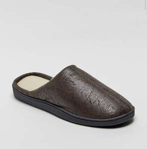 Pu mule slippers in brown £5 free click and collect @ matalan