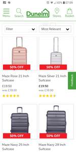 Maze/Aerolite Luggages 50% Off Sale from £19.50 @ Dunelm.com