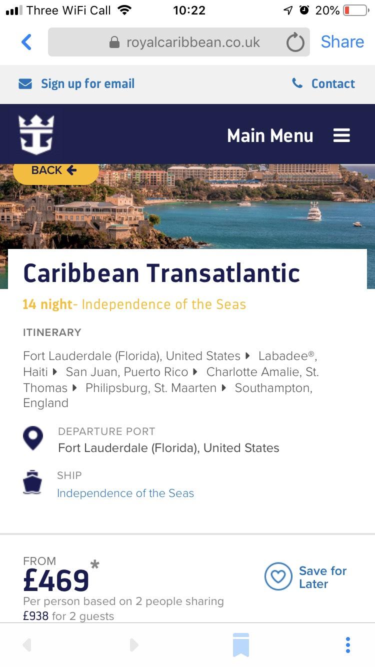 14nt Caribbean transatlantic cruise  4th may 2019 £469pp Royal Caribbean