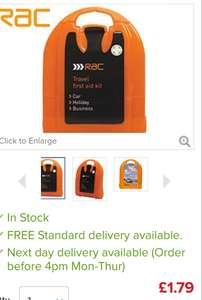 RAC travel First Aid Kit. £1.20 including delivery. Use code MIDMONTH @ Euro car parts