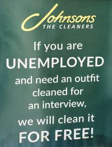 Free suit cleaning @ Johnsons for anyone unemployed going for an interview