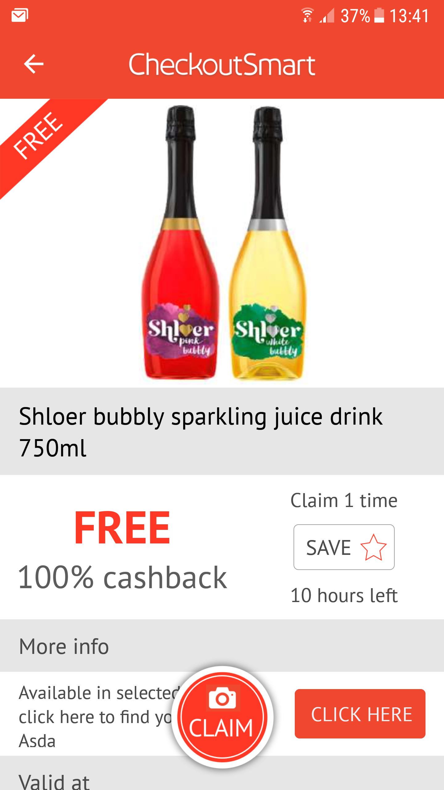 FREE Shloer Bubbly via Checkoutsmart (£2.99 @ Asda)