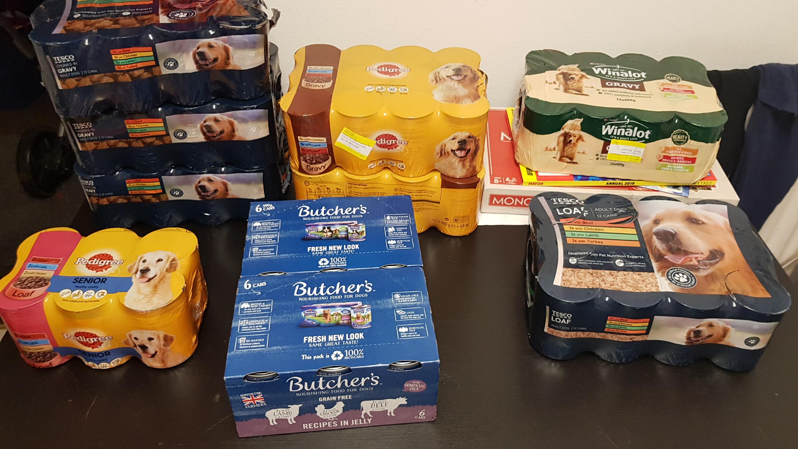Tesco Dog Food Reductions 12XTesco £1.25, Pedigree 12x cans £1.64, Butchers 6 cans 99p, 12 Winalot £1.50. Milton Keynes