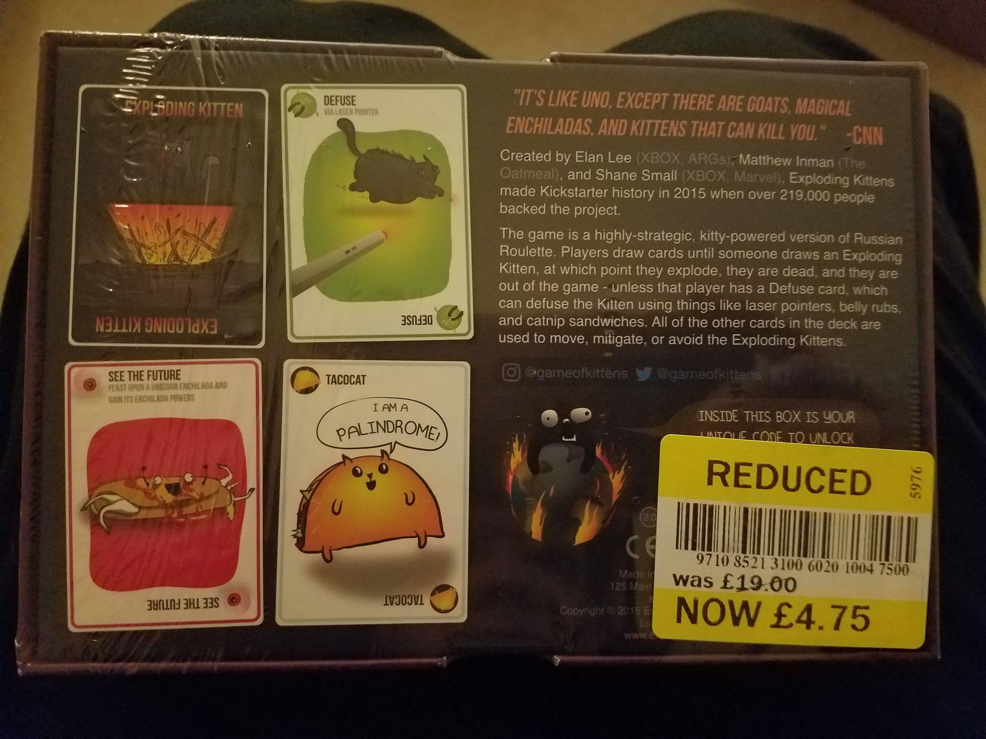 Exploding kittens - Original Edition card game £4.75 instore @ Tesco Bristol